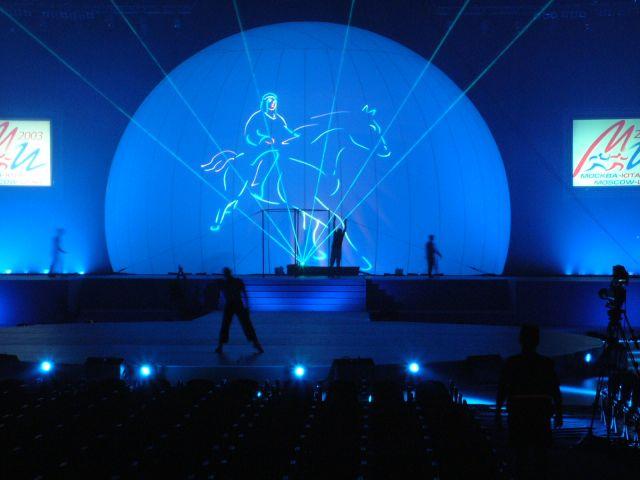 projection laser sur sphere